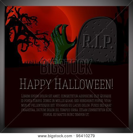 Big halloween banner - illustration of hand going through the ground with tombstone. Vector