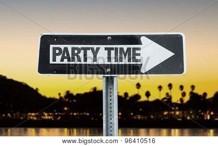 Party Time direction sign with sunset background
