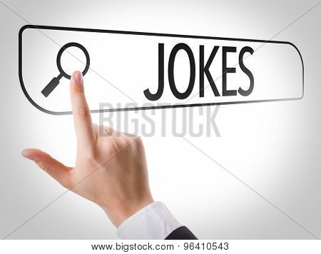 Jokes written in search bar on virtual screen