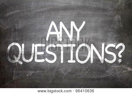 Any Questions? written on a chalkboard