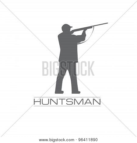 Illustration of a hunstman aiming with the rifle, logo concept for hunstman shop, weapon,amunition.