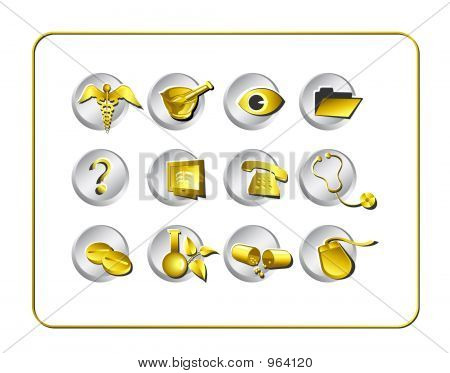 Medical & Pharmacy Icon Set - Golden 1