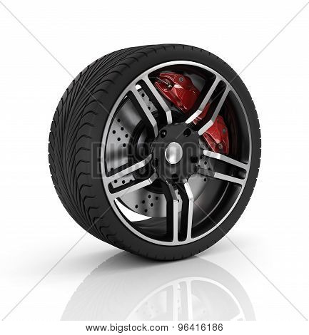 Super Car Disc-brake. Car Wheel.
