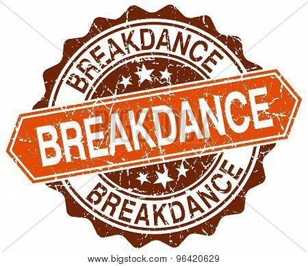 Breakdance Orange Round Grunge Stamp On White
