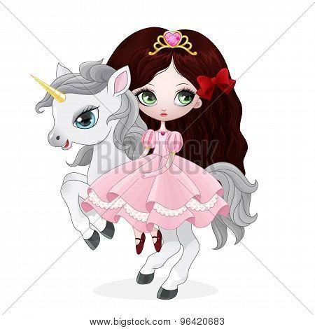 Beautiful princess with pink dress riding horse