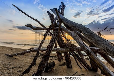 Leanto On A Lake Huron Beach As The Sun Sets