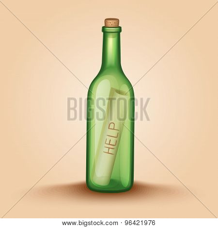Realistic Bottle With A Letter Help