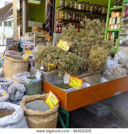 Retail Of Herbs, Spices, Teas And Delicatessen In A Stall Of The Port Of Piraeus