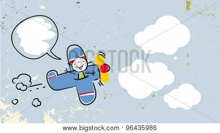 Happy kid, girl pilot flying in a blue airplane, with speech balloon. Vector doodle style illustration.