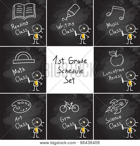 First grade schedule education set, collection, hand drawn on blackboard with chalk. Hand drawing and writing doodle style, sketchy illustration.