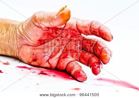 bloody hand on the table. a violence or fear horror concept. poster