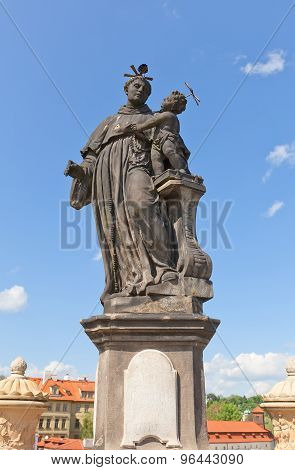Statue Of St. Anthony Of Padua On Charles Bridge In Prague