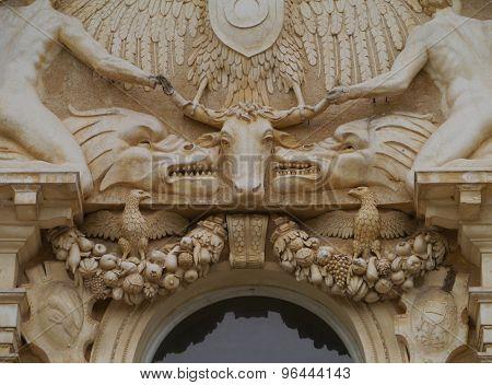 A sculptural detail of the villa Maser