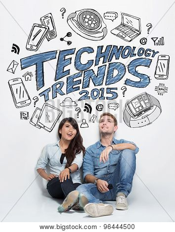 Mixed Couple Thinking About Technology Trends, Illustrated Things