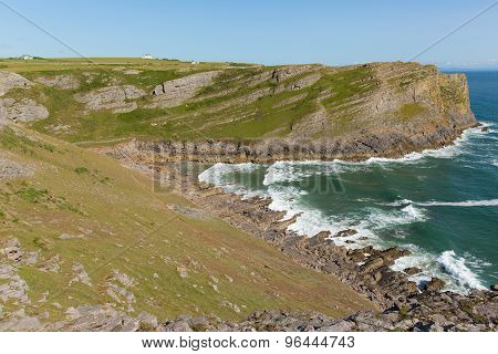 Mewslade Bay The Gower peninsula south coast near Swansea South Wales UK near to Rhossili beach