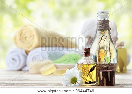 Essential Oil And Minerals Salt, Outdoor Background