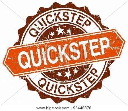 Quickstep Orange Round Grunge Stamp On White