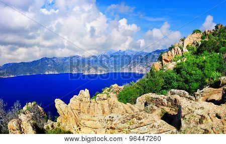 mountain landscapes of Corsica, famous Calanques