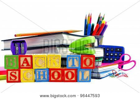 Back to School wooden toy blocks with school supplies