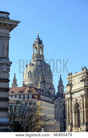 View Through Georg Treu Square Towards Frauenkirche In Dresden, Germany.