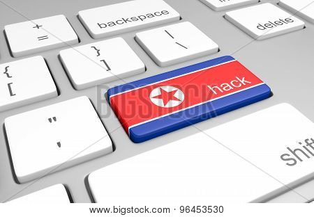 North Korea hacking concept of a computer keyboard and a key painted with the North Korean flag
