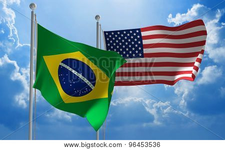 Brazil and United States flags flying together for diplomatic talks