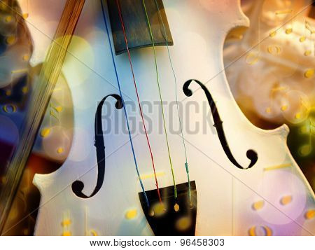 White Violin With Bokeh