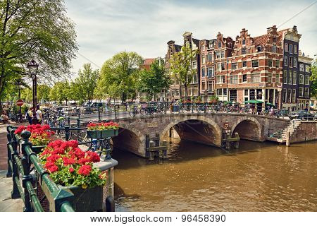 Amsterdam Houses At The Intersection Between Prinsengracht And Brouwersgracht Canals