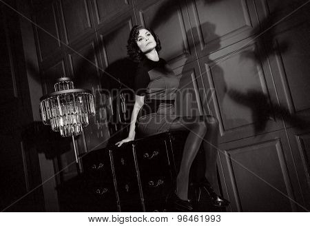 Young Woman In Horror Movie