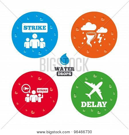 Water drops on button. Strike icon. Storm bad weather and group of people signs. Delayed flight symbol. Realistic pure raindrops on circles. Vector poster