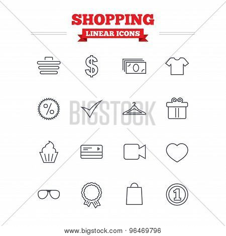 Shopping linear icons set. Thin outline signs. Vector