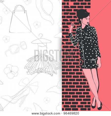 Creative illustration of young retro fashionable girl with women's accessories for Retro fashion collection.