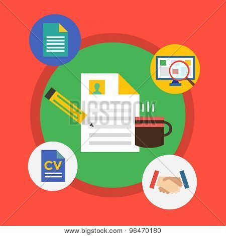 Office tools. Vector objects for infographic. Document Sheet, Web Elements, Cup of Tea and Computer. Stock illustration design