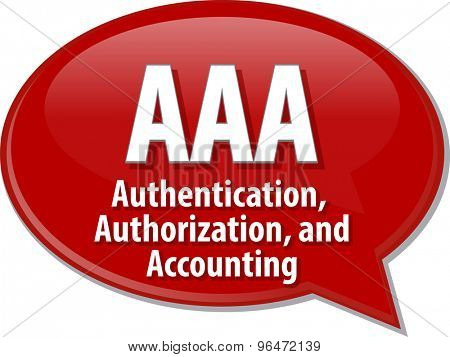 Speech bubble illustration of information technology acronym abbreviation term definition AAA Authentication Authorization and Accounting poster