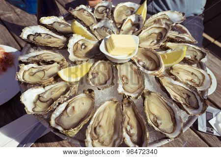 fresh oysters on table