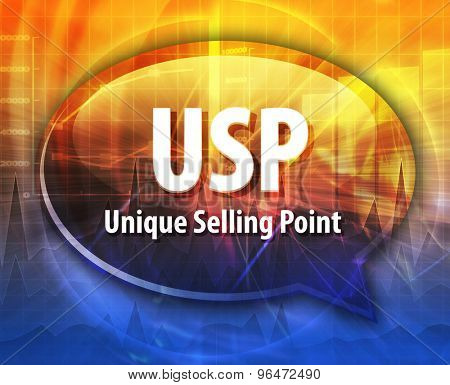 word speech bubble illustration of business acronym term USP Unique Selling Point