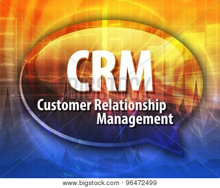 word speech bubble illustration of business acronym term CRM Customer Relationship Mangement