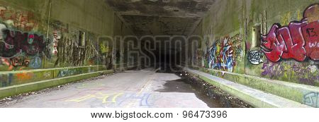 Panorama Of Grafitti In Abandoned Tunnel