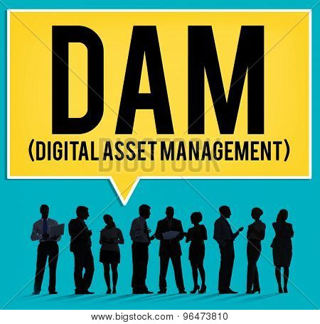 DAM Digital Asset Management Organization Concept poster