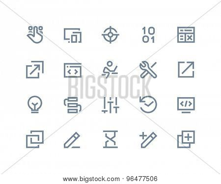 Programming and developer icons. Line series