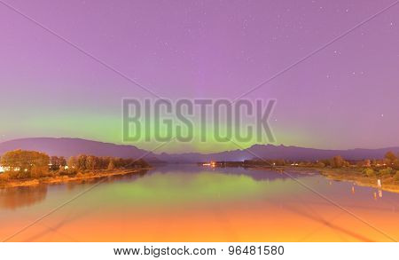 Pitt River And Golden Ears Mountain With Aurora Borealis