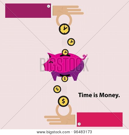 Time Is Money Piggy Bank. Flat Design - Illustration..loan, Stock Market, Finance, Business, Currenc