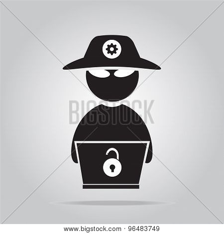 Hacker Icon With Laptop Flat Style