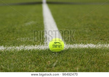 Slazenger Wimbledon Tennis Ball on grass tennis court.