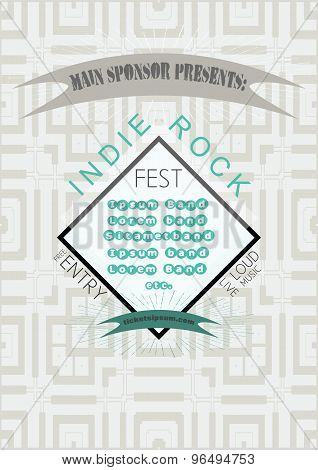 Indie Rock Music Concert Poster Template.