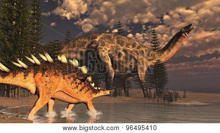 Dicraeosaurus and kentrosaurus dinosaurs - 3D render