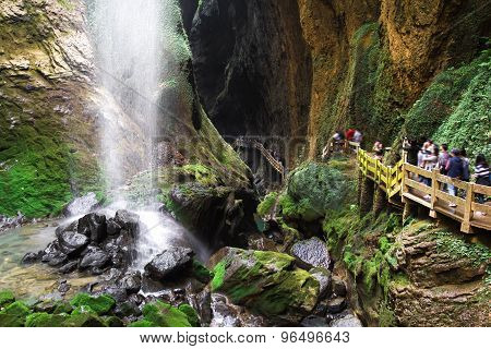 Longshuixia Fissure Gorge is natural place in Wulong county southwest of China Chongqing city. poster