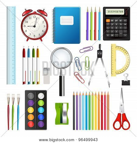 Set Of School Supplies Isolated On White Background.