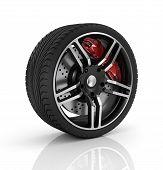 Super car disc-brake. Car wheel isolated on white background . poster
