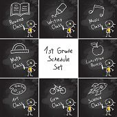 First grade schedule education set, collection, hand drawn on blackboard with chalk. Hand drawing and writing doodle style, sketchy illustration.  poster